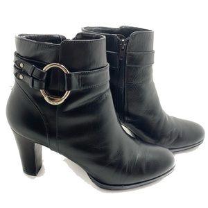 Lauren Ralph Laure Black Leather Heeled Boots